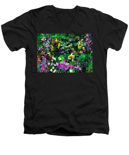 Men's V-Neck T-Shirt featuring the digital art Flower Garden by David Lane