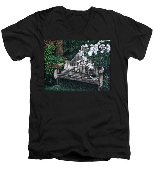 Men's V-Neck T-Shirt featuring the painting Flower Garden Seat by Penny Birch-Williams