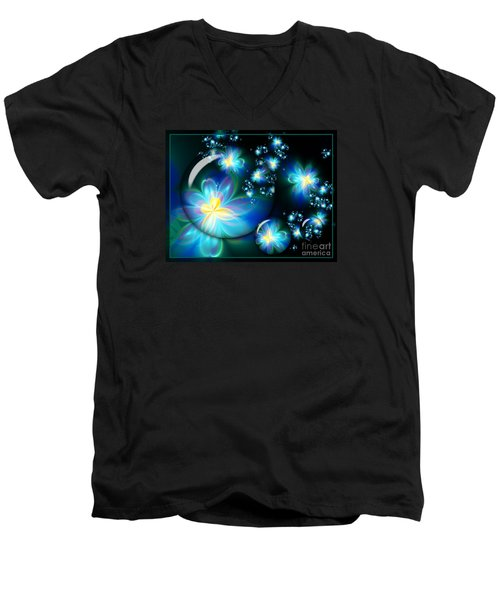 Flower Marble Fractal Men's V-Neck T-Shirt by Lena Auxier