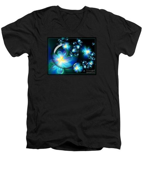 Flower Marble Fractal Men's V-Neck T-Shirt