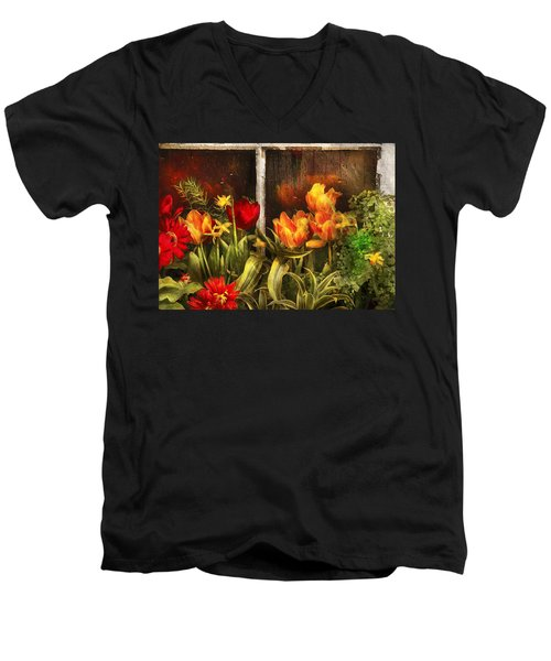 Flower - Tulip - Tulips In A Window Men's V-Neck T-Shirt