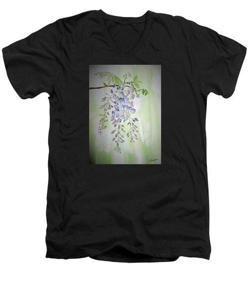 Flowering Wisteria Men's V-Neck T-Shirt by Elvira Ingram