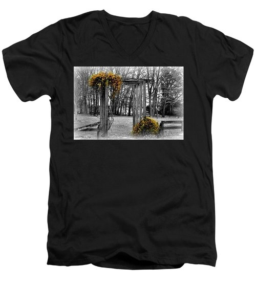 Men's V-Neck T-Shirt featuring the photograph Flowering Archway by Tara Potts