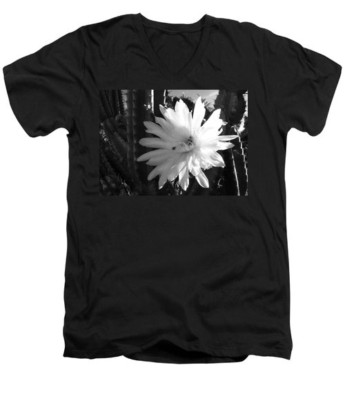 Men's V-Neck T-Shirt featuring the photograph Flowering Cactus 1 Bw by Mariusz Kula