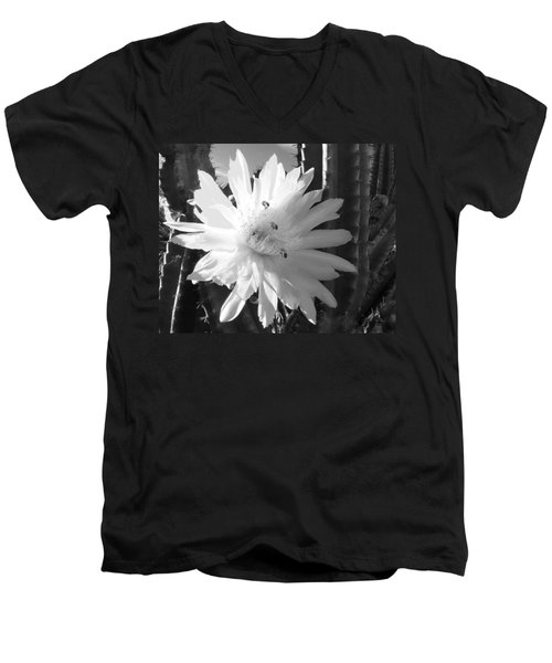 Men's V-Neck T-Shirt featuring the photograph Flowering Cactus 5 Bw by Mariusz Kula
