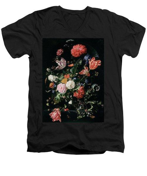 Flowers In A Glass Vase, Circa 1660 Men's V-Neck T-Shirt