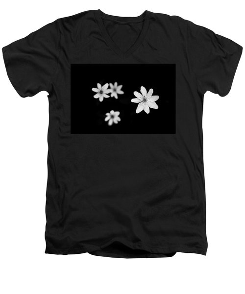 Flowers In Black Men's V-Neck T-Shirt by Shane Holsclaw