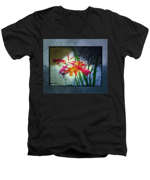 Men's V-Neck T-Shirt featuring the digital art Flowers On Parchment by Absinthe Art By Michelle LeAnn Scott