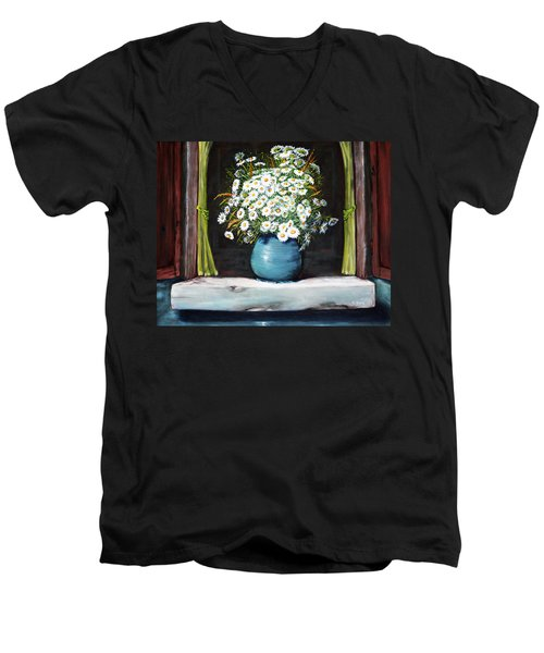 Flowers On The Ledge Men's V-Neck T-Shirt