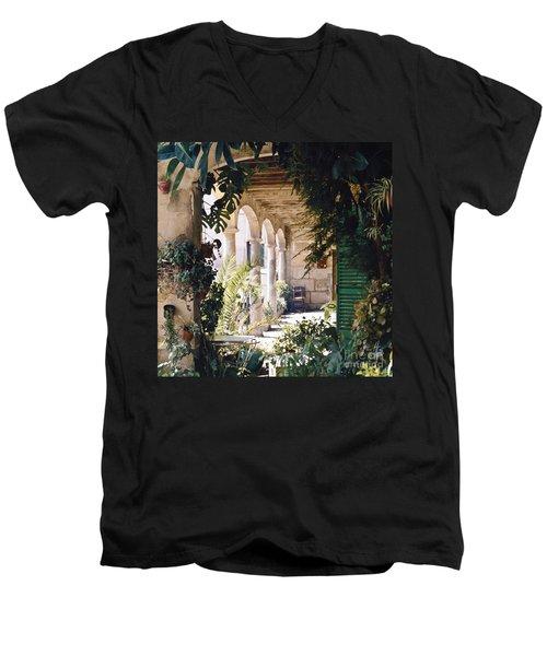 Flowery Majorquin  Patio In Valdemosa Men's V-Neck T-Shirt