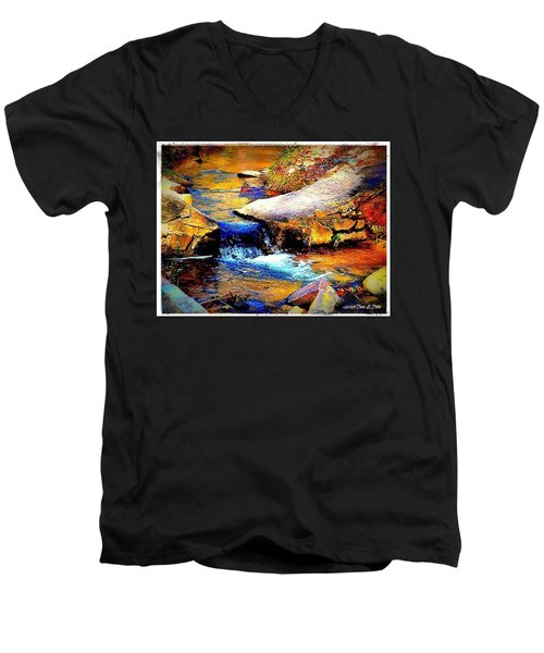 Men's V-Neck T-Shirt featuring the photograph Flowing Creek by Tara Potts