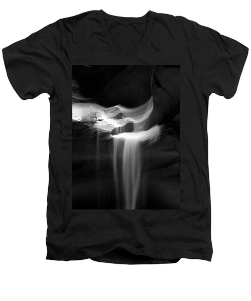 Flowing Sand In Antelope Canyon Men's V-Neck T-Shirt by Lucinda Walter