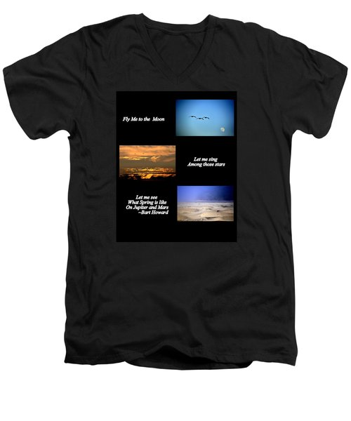 Men's V-Neck T-Shirt featuring the photograph Fly Me To The Moon by AJ  Schibig