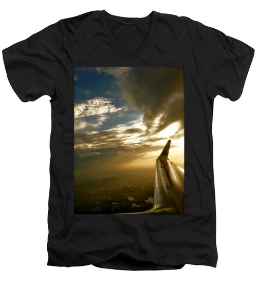 Flying Clouds By David Pucciarelli Men's V-Neck T-Shirt by Iconic Images Art Gallery David Pucciarelli
