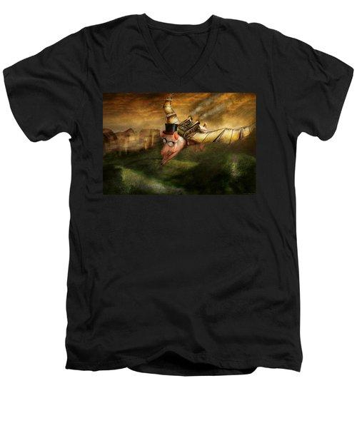 Flying Pig - Steampunk - The Flying Swine Men's V-Neck T-Shirt