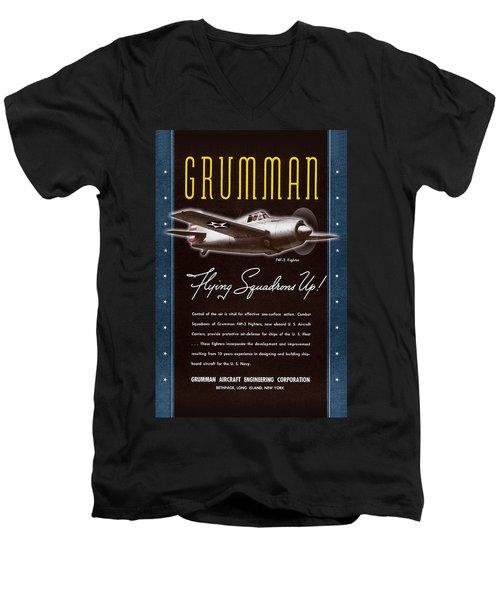 Grumman Flying Squadrons Up Men's V-Neck T-Shirt