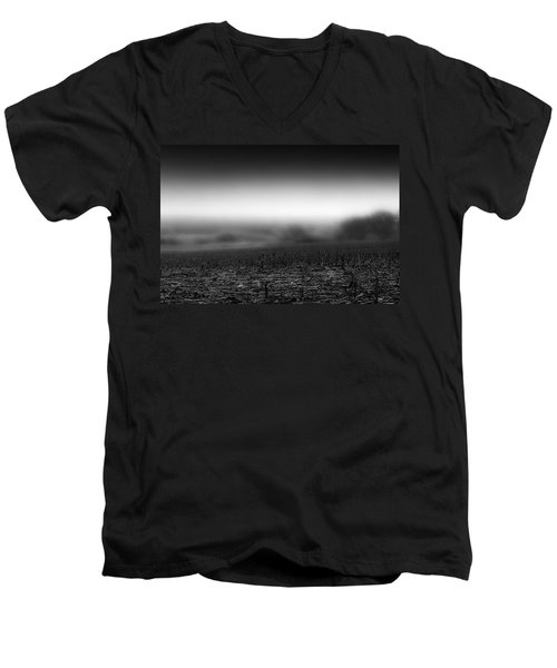 Foggy Field Men's V-Neck T-Shirt by Tom Gort