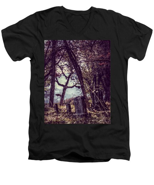 Men's V-Neck T-Shirt featuring the photograph Foggy Memories by Melanie Lankford Photography