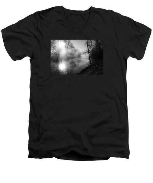 Foggy Misty Morning Sunrise On James River Men's V-Neck T-Shirt