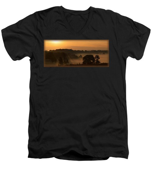 Foggy Morning At Valley Forge Men's V-Neck T-Shirt by Michael Porchik