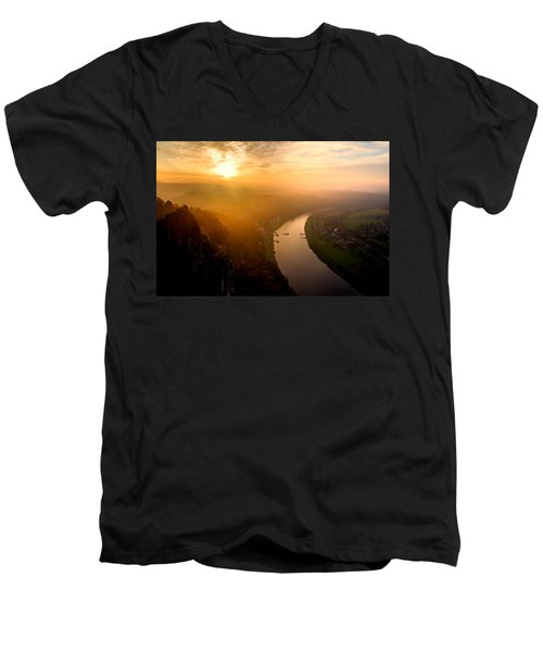 Foggy Sunrise At The Elbe Men's V-Neck T-Shirt