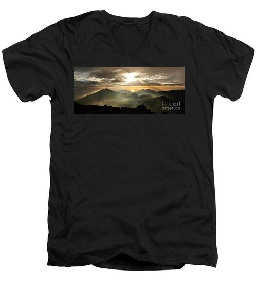 Foggy Sunrise Over Haleakala Crater On Maui Island In Hawaii Men's V-Neck T-Shirt by IPics Photography