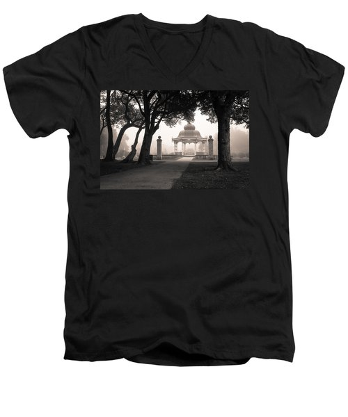 Foggy Tower Grove Men's V-Neck T-Shirt by Scott Rackers