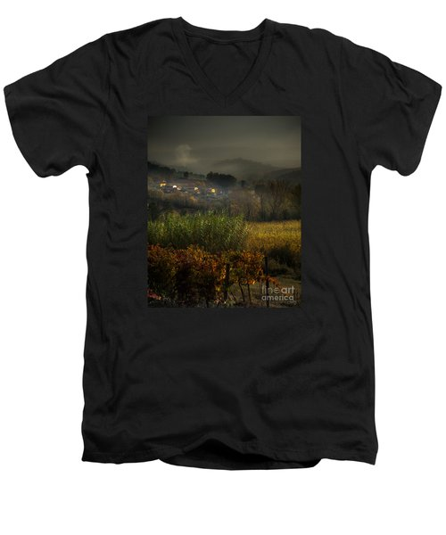 Foggy Tuscan Valley  Men's V-Neck T-Shirt