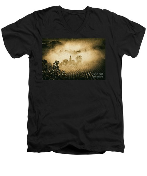 Men's V-Neck T-Shirt featuring the photograph Foggy Tuscany by Silvia Ganora