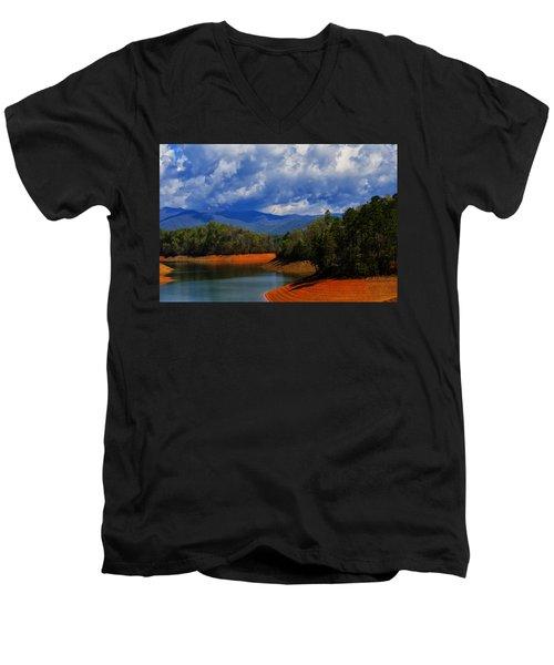 Fontana Lake Storm Men's V-Neck T-Shirt by Chris Flees