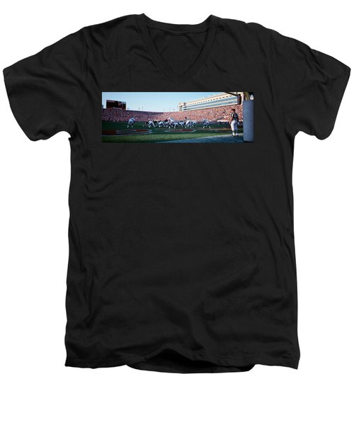 Football Game, Soldier Field, Chicago Men's V-Neck T-Shirt by Panoramic Images