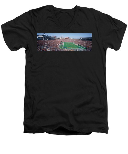 Football, Soldier Field, Chicago Men's V-Neck T-Shirt by Panoramic Images