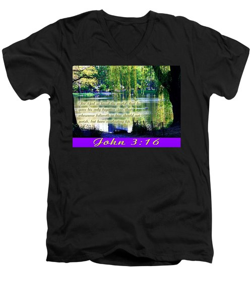 For God So Loved- Men's V-Neck T-Shirt by Terry Wallace