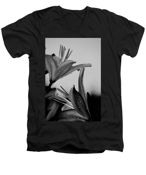 For The Love Of Lillies Bw Men's V-Neck T-Shirt by Lesa Fine