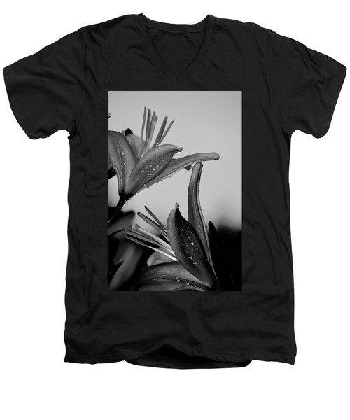 For The Love Of Lillies Bw Men's V-Neck T-Shirt