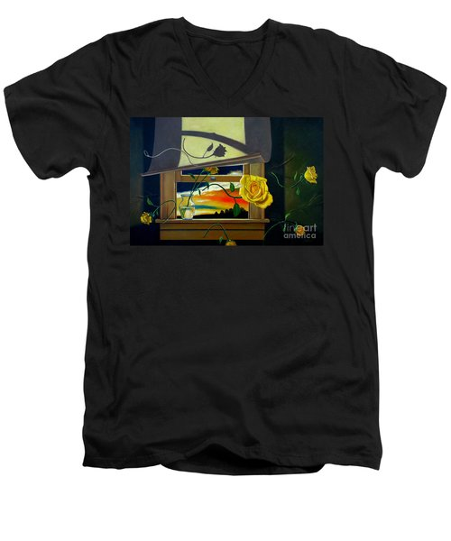 Men's V-Neck T-Shirt featuring the painting For You by Christopher Shellhammer
