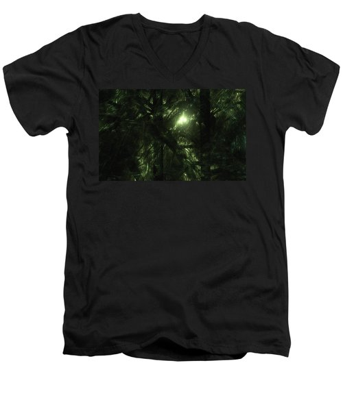 Men's V-Neck T-Shirt featuring the digital art Forest Light by GJ Blackman
