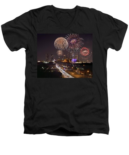 Men's V-Neck T-Shirt featuring the photograph Fort Worth Skyline At Night Fireworks Color Evening Ft. Worth Texas by Jon Holiday