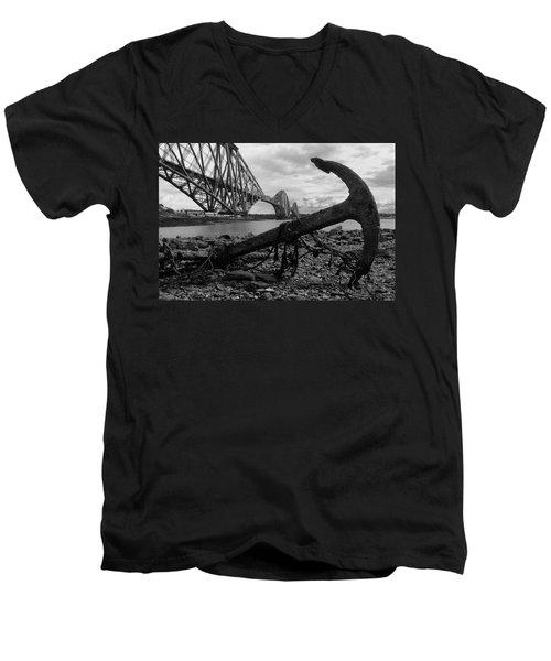 Forth Bridge Anchor Men's V-Neck T-Shirt by Jeremy Voisey