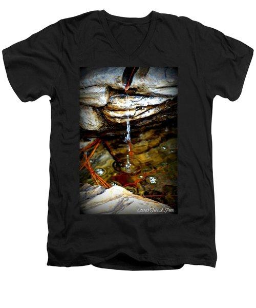 Men's V-Neck T-Shirt featuring the photograph Fountain Drops by Tara Potts