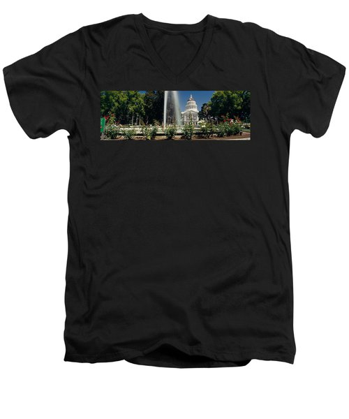 Fountain In A Garden In Front Men's V-Neck T-Shirt by Panoramic Images