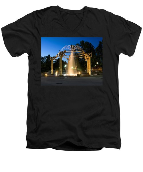 Fountain In Riverfront Park Men's V-Neck T-Shirt