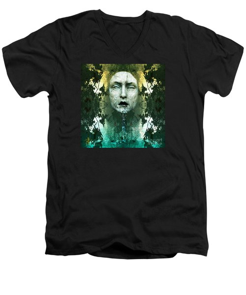 Men's V-Neck T-Shirt featuring the digital art Fountainhead Dream by Rosa Cobos