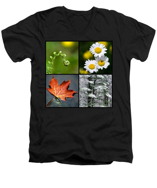 Men's V-Neck T-Shirt featuring the photograph Four Seasons Nature Square by Christina Rollo