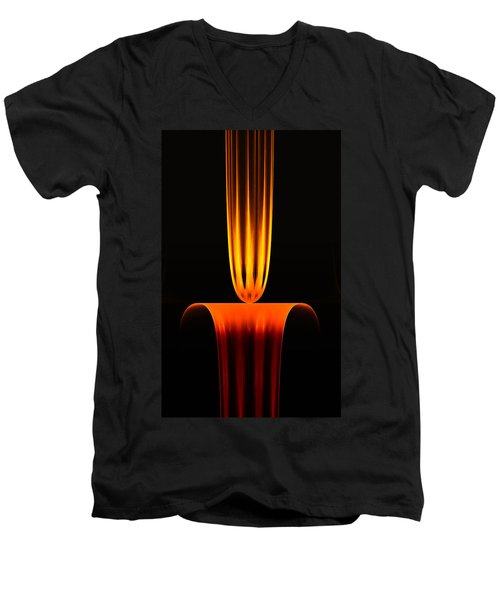 Men's V-Neck T-Shirt featuring the digital art Fractal Flame by GJ Blackman