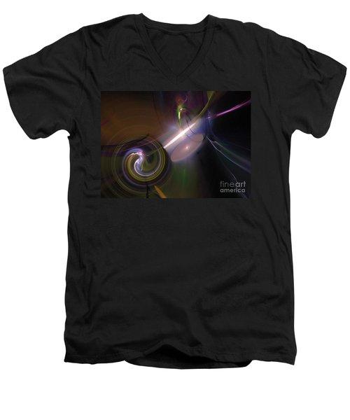 Men's V-Neck T-Shirt featuring the digital art Fractal Multi Color by Henrik Lehnerer