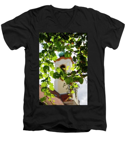 Men's V-Neck T-Shirt featuring the photograph Framed Steeple by KG Thienemann