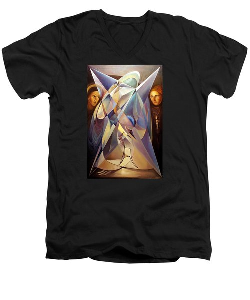 Men's V-Neck T-Shirt featuring the painting Frames Mover Or Light Fighter by Mikhail Savchenko