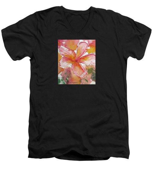 Frangipani Men's V-Neck T-Shirt by Elvira Ingram