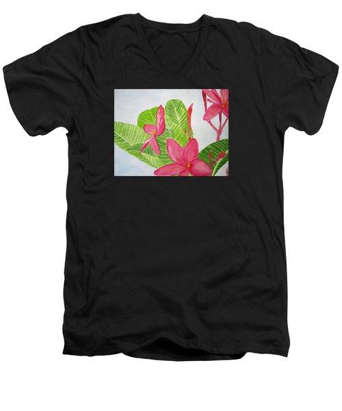 Frangipani Tree Men's V-Neck T-Shirt by Elvira Ingram